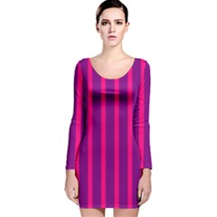 Deep Pink And Black Vertical Lines Long Sleeve Velvet Bodycon Dress
