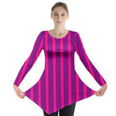 Deep Pink And Black Vertical Lines Long Sleeve Tunic