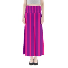 Deep Pink And Black Vertical Lines Maxi Skirts