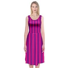 Deep Pink And Black Vertical Lines Midi Sleeveless Dress