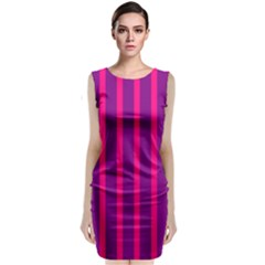 Deep Pink And Black Vertical Lines Classic Sleeveless Midi Dress