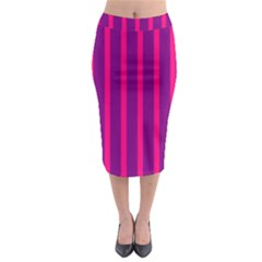 Deep Pink And Black Vertical Lines Midi Pencil Skirt