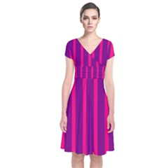 Deep Pink And Black Vertical Lines Short Sleeve Front Wrap Dress