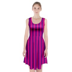 Deep Pink And Black Vertical Lines Racerback Midi Dress