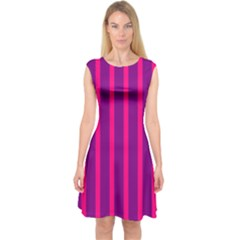 Deep Pink And Black Vertical Lines Capsleeve Midi Dress