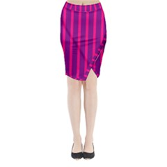 Deep Pink And Black Vertical Lines Midi Wrap Pencil Skirt