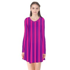 Deep Pink And Black Vertical Lines Flare Dress