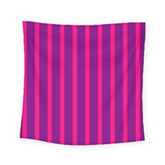 Deep Pink And Black Vertical Lines Square Tapestry (small)