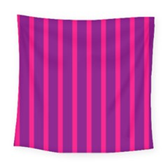 Deep Pink And Black Vertical Lines Square Tapestry (large)