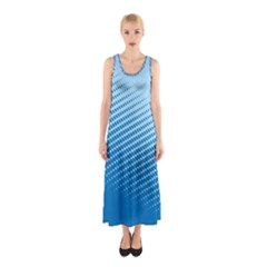 Blue Dot Pattern Sleeveless Maxi Dress