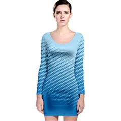 Blue Dot Pattern Long Sleeve Bodycon Dress