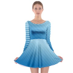 Blue Dot Pattern Long Sleeve Skater Dress