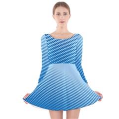 Blue Dot Pattern Long Sleeve Velvet Skater Dress