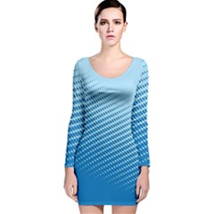 Blue Dot Pattern Long Sleeve Velvet Bodycon Dress