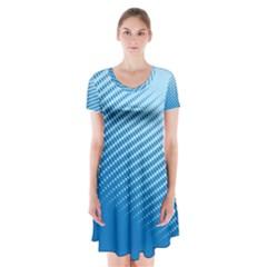 Blue Dot Pattern Short Sleeve V-neck Flare Dress