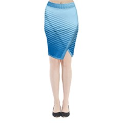 Blue Dot Pattern Midi Wrap Pencil Skirt