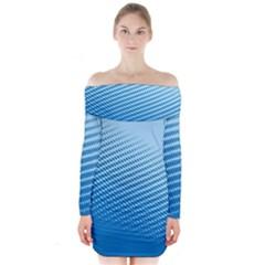 Blue Dot Pattern Long Sleeve Off Shoulder Dress