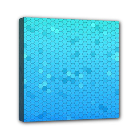 Blue Seamless Black Hexagon Pattern Mini Canvas 6  X 6