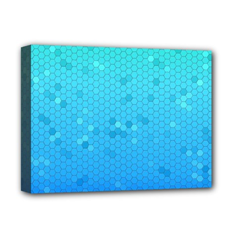 Blue Seamless Black Hexagon Pattern Deluxe Canvas 16  X 12