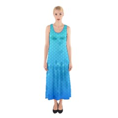 Blue Seamless Black Hexagon Pattern Sleeveless Maxi Dress
