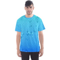 Blue Seamless Black Hexagon Pattern Men s Sport Mesh Tee