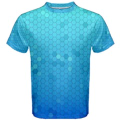 Blue Seamless Black Hexagon Pattern Men s Cotton Tee