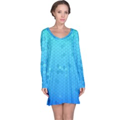 Blue Seamless Black Hexagon Pattern Long Sleeve Nightdress