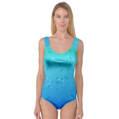Blue Seamless Black Hexagon Pattern Princess Tank Leotard