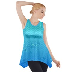 Blue Seamless Black Hexagon Pattern Side Drop Tank Tunic