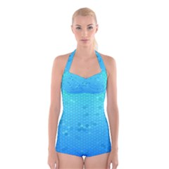 Blue Seamless Black Hexagon Pattern Boyleg Halter Swimsuit