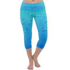 Blue Seamless Black Hexagon Pattern Capri Yoga Leggings