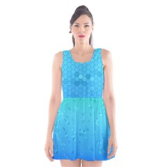Blue Seamless Black Hexagon Pattern Scoop Neck Skater Dress
