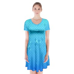 Blue Seamless Black Hexagon Pattern Short Sleeve V Neck Flare Dress