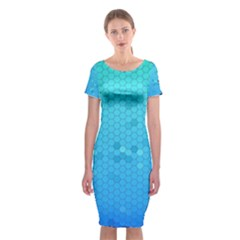 Blue Seamless Black Hexagon Pattern Classic Short Sleeve Midi Dress
