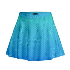 Blue Seamless Black Hexagon Pattern Mini Flare Skirt