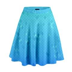 Blue Seamless Black Hexagon Pattern High Waist Skirt