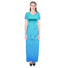 Blue Seamless Black Hexagon Pattern Short Sleeve Maxi Dress