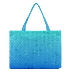 Blue Seamless Black Hexagon Pattern Medium Tote Bag