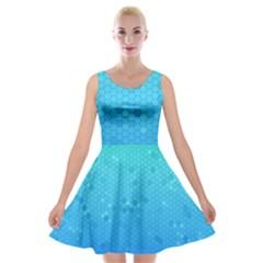 Blue Seamless Black Hexagon Pattern Velvet Skater Dress