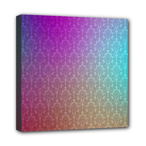 Blue And Pink Colors On A Pattern Mini Canvas 8  X 8