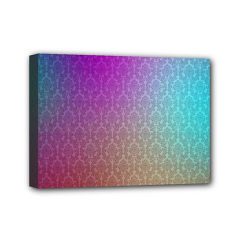 Blue And Pink Colors On A Pattern Mini Canvas 7  x 5