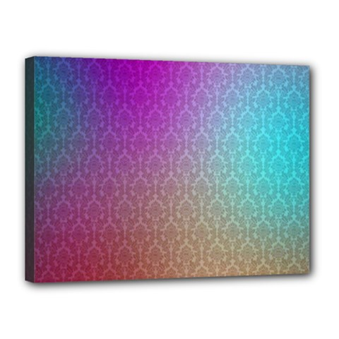 Blue And Pink Colors On A Pattern Canvas 16  X 12
