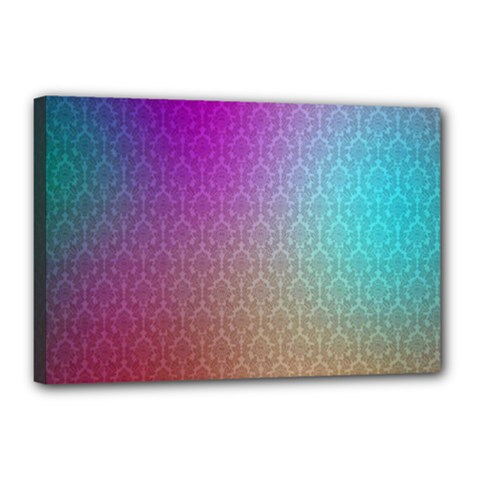Blue And Pink Colors On A Pattern Canvas 18  x 12