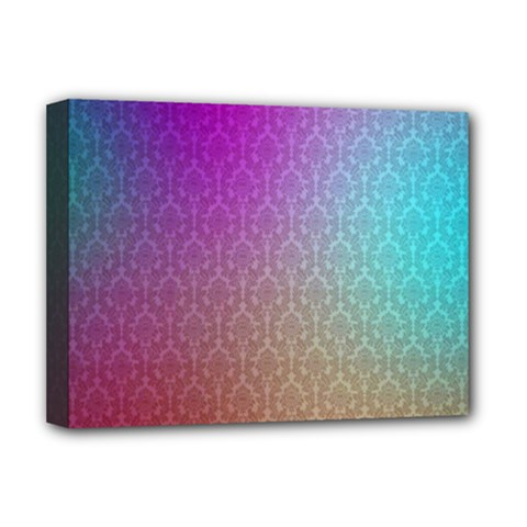 Blue And Pink Colors On A Pattern Deluxe Canvas 16  X 12