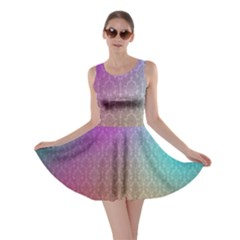 Blue And Pink Colors On A Pattern Skater Dress