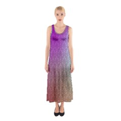 Blue And Pink Colors On A Pattern Sleeveless Maxi Dress