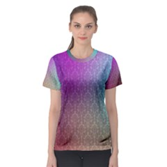 Blue And Pink Colors On A Pattern Women s Sport Mesh Tee