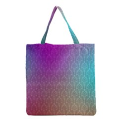 Blue And Pink Colors On A Pattern Grocery Tote Bag