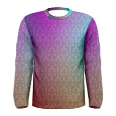 Blue And Pink Colors On A Pattern Men s Long Sleeve Tee