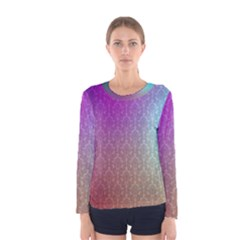 Blue And Pink Colors On A Pattern Women s Long Sleeve Tee